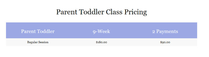 how much is typically a dance class for toddlers